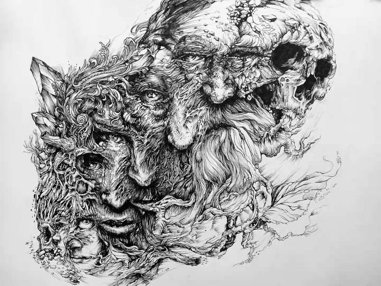 E:\2020国际大学生手绘艺术与设计大赛\参赛作品\手绘写生类\手绘写生类 江西科技学院--八张脸--梁容瑄\八张脸.jpg